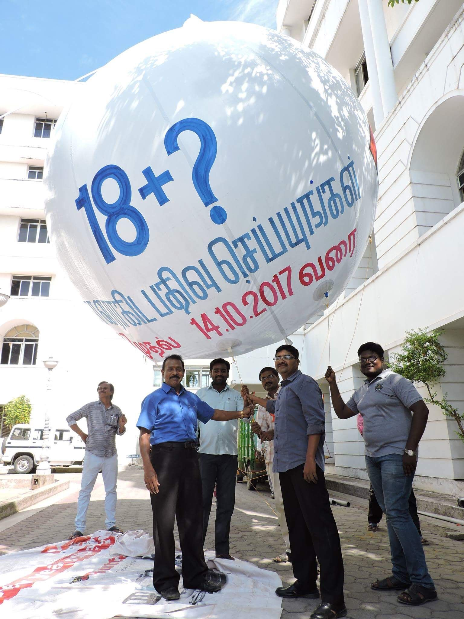 Helium balloon with a message voter awareness