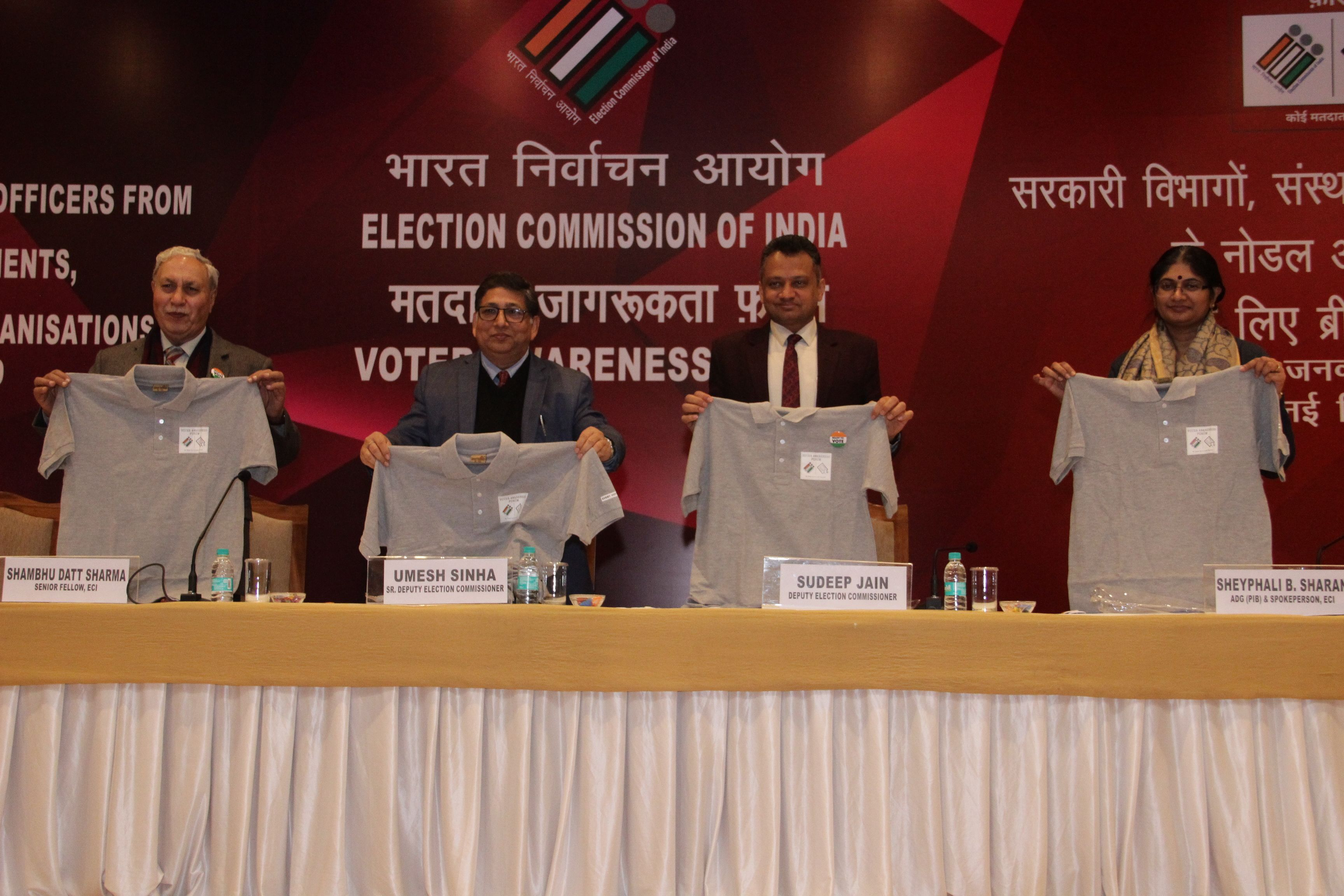 Dignitaries unveil the Tshirt for Voter Awareness Forum