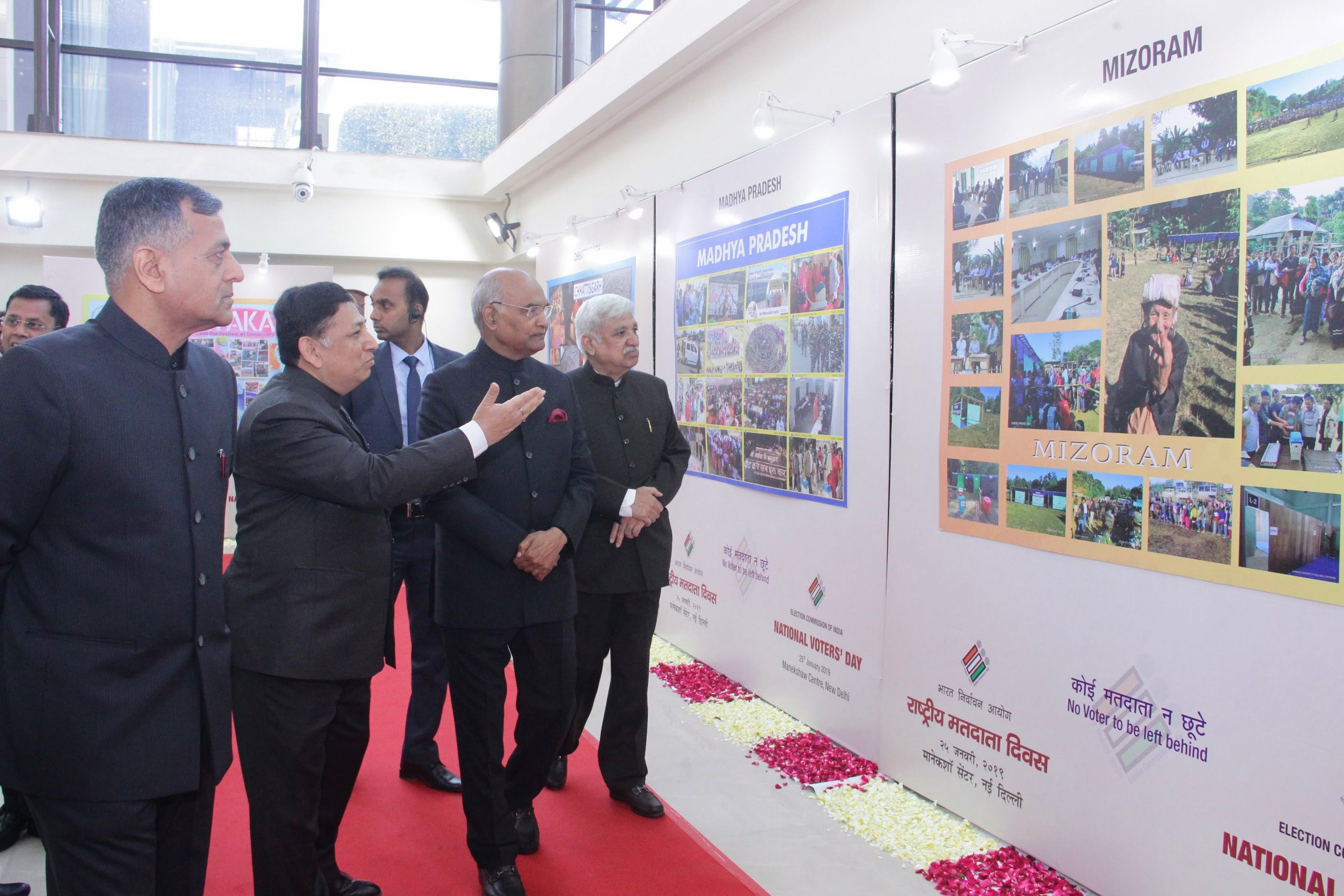 President looking at the Exhibition