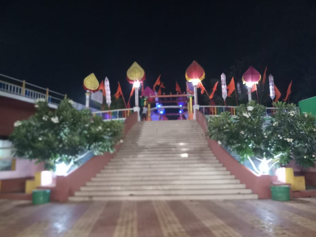 Decoration of Traffic Island, Junction in Shigmo style Along with Voter Awareness Banners By 03 Bicholim A.C.