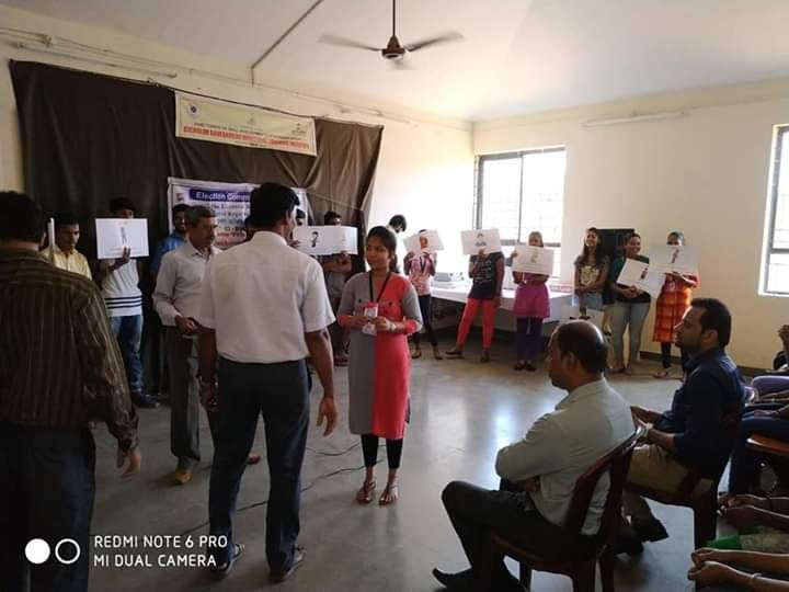 Matdisha game was conducted by 03 Bicholim A.C  at Electoral Literacy club ITI Bicholim and also demonstration of EVM and VVPAT was conducted, thereby infusing confidence among the electors about the credibility of EVM and VVPAT.