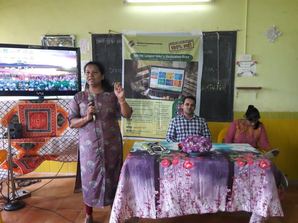 Shri Pravinjay Pandit Mamlatdar of Bicholim Taluka and AERO of 03 Bicholim A.C conducted awareness programme in respect of special Summary revision of Electoral Roll with reference to 1.1.2020 as a qualifying date on 10.10.19 at Government School Mencurem