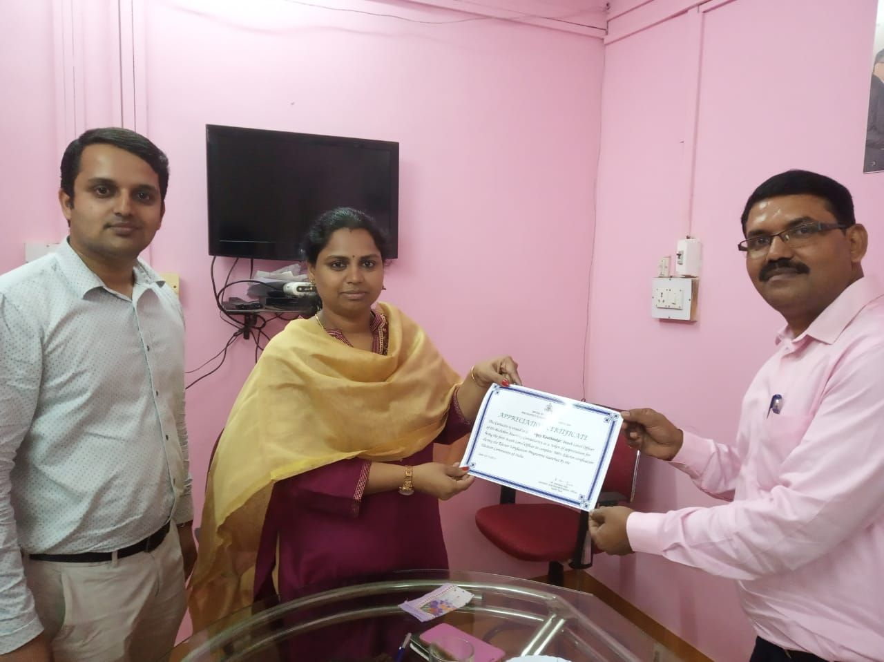 R Menaka IAS District Collector and DEO North Goa gave  appreciation certificate to shri Vijay Kauthankar BLO of part no 41 of 03 Bicholim A.C
