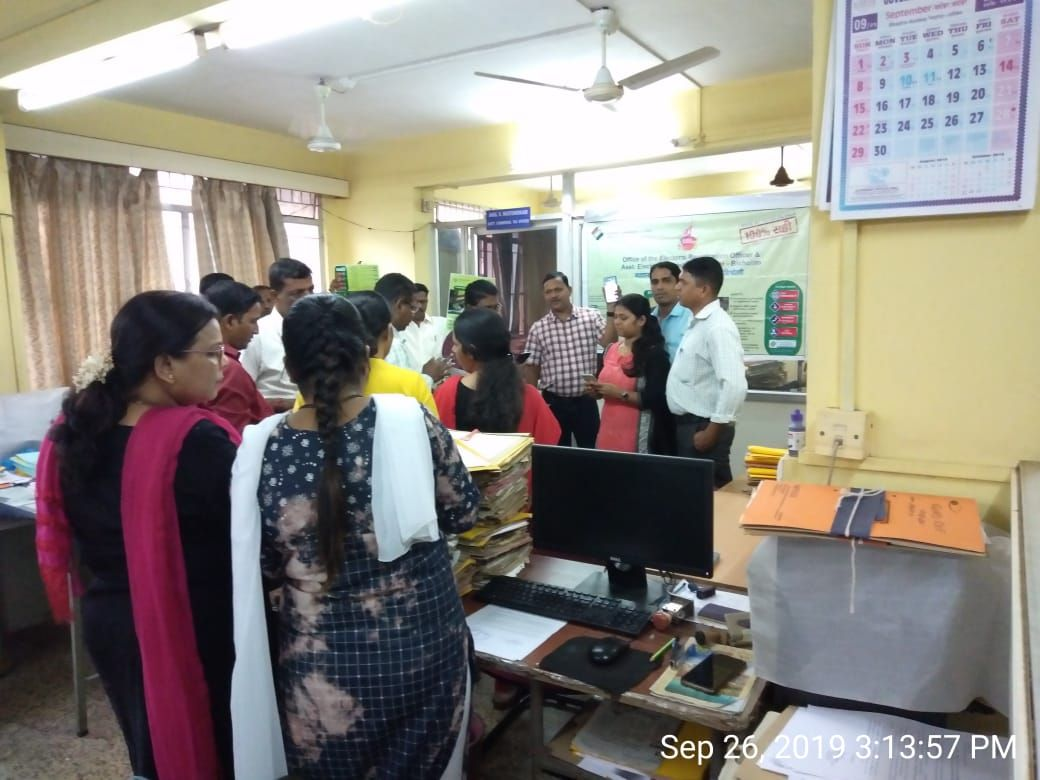 Elector Verification Programme conducted by team 03 Bicholim A.C on 26.9.19  at Sales Tax office Bicholim thereby disseminating the information in respect of Elector Verification through the usage of NVSP and Voter helpline app.