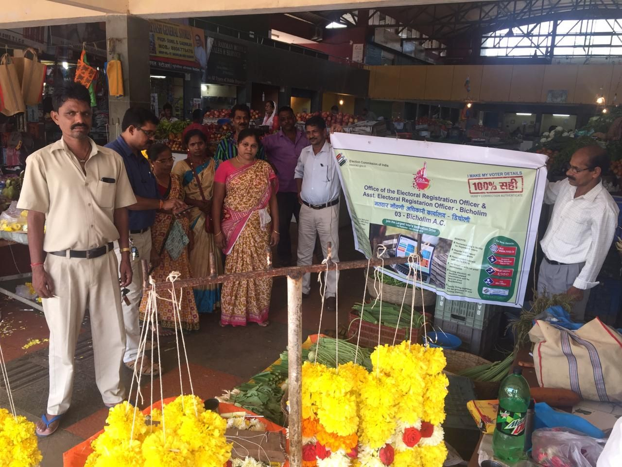 Awareness programme conducted in respect of Elector Verification Programme by team 03 Bicholim A.C on 23.9.2019 at Market area Bicholim. The information in respect of Elector Verification  through the  usage of Voter Helpline app or National Voter Service